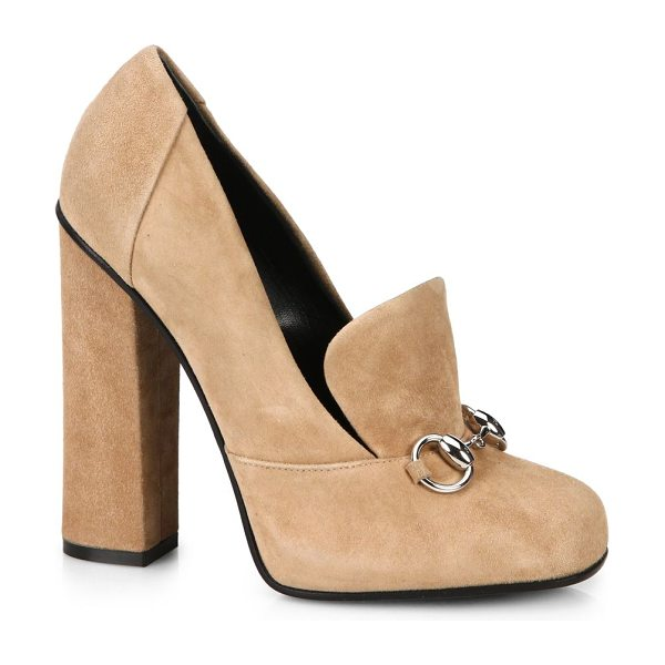 """Gucci Lillian suede oxford pumps in nude - Self-covered heel, 4.25"""" (110mm)Suede upperLeather..."""