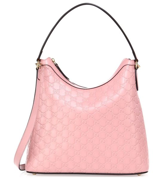 Gucci linea a leather shoulder bag in rose - Top handle. Adjustable, removable shoulder strap. Top...