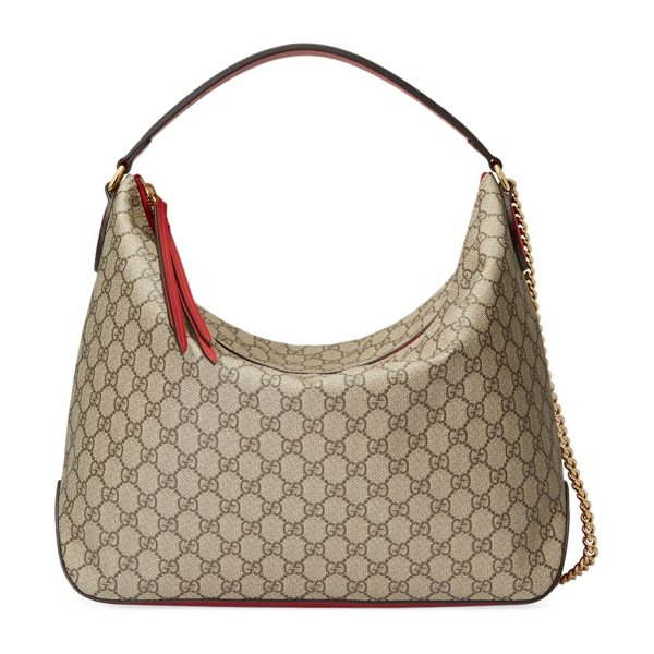 "Gucci linea large gg supreme canvas hobo bag in beige red - Top handle, 9"" drop. Chain shoulder strap, 21.5"" drop...."
