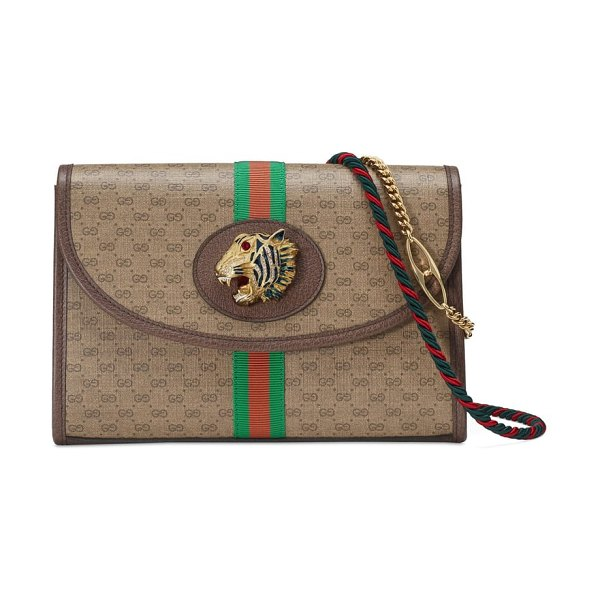 Gucci linea rajah supreme canvas shoulder bag in brown - A bejewelled tiger inspired by a vintage Hattie Carnegie...