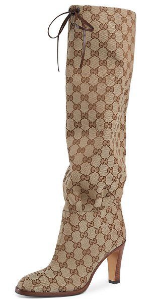 Gucci Lisa GG Canvas Knee Boots in beige-ebony