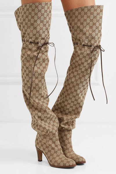 Gucci lisa leather-trimmed logo-jacquard over-the-knee boots in beige - Modeled on the first ever men's riding boot, Gucci's...