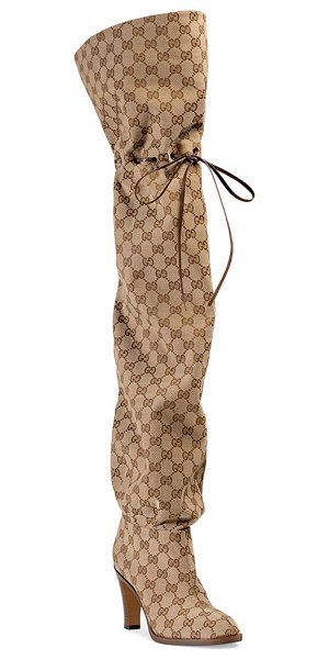 Gucci original gg canvas over-the-knee boots in brown