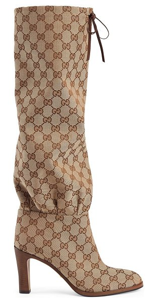 Gucci lisa tie tall boots with logo in beige