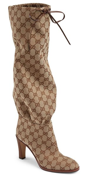 """Gucci lisa tie tall boots with logo in neutral - Wooden heel, 3.5"""" (89mm) Shaft height, 16.5"""" (419mm)..."""
