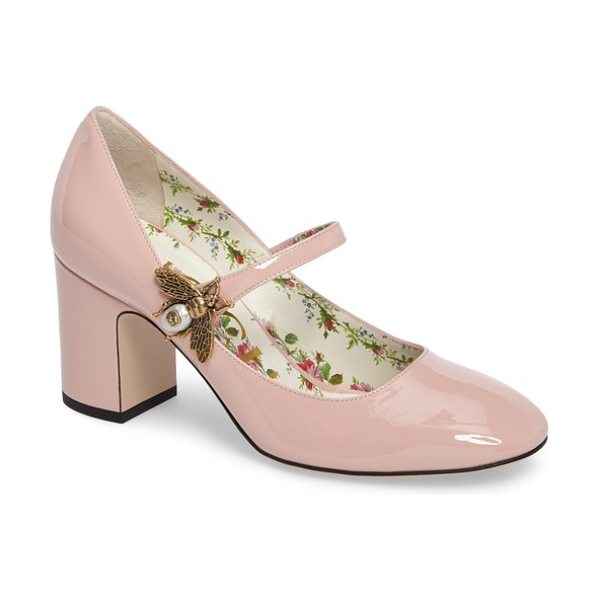Gucci lois bee mary jane pump in pink leather - A luminous metal bee alights at the mary-jane strap of a...