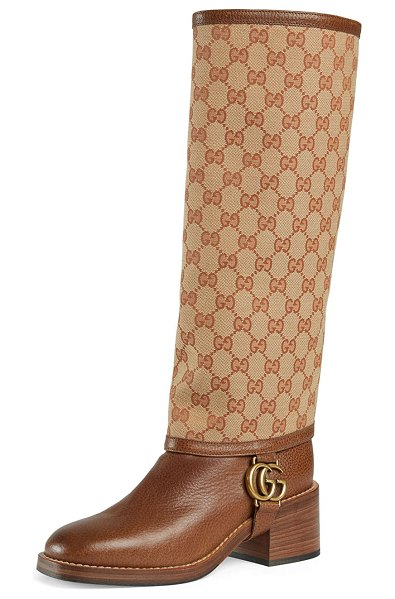 Gucci Lola GG Canvas and Leather Riding Boots in beige ruggine - Gucci pebbled leather riding knee boots. Removable...