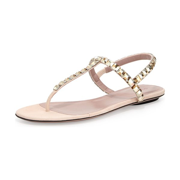 Gucci Mallory crystal flat thong sandal in light pink