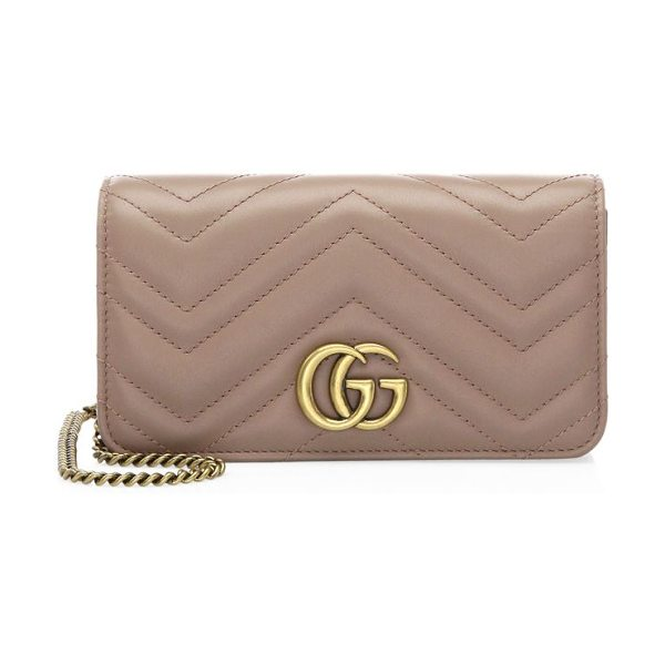 "Gucci marmont 2.0 leather crossbody bag in rose - Double G detachable chain shoulder strap, 23.5"" drop...."