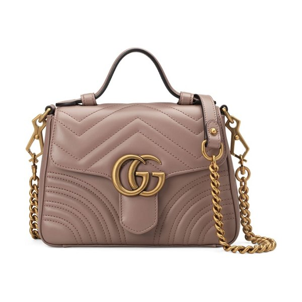 Gucci marmont 2.0 leather top handle bag in beige