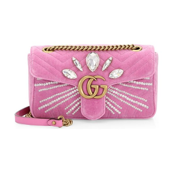 Gucci marmont crystal-embellished velvet clutch in pink - Velvet clutch with rhinestone rays and Marquise-shaped...
