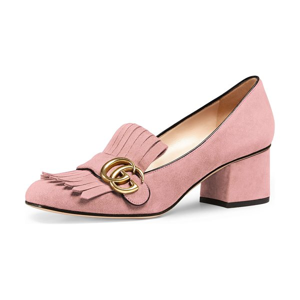 "GUCCI Marmont Fringe Suede 55mm Loafer in crystal pink - Gucci suede loafer. 2.25"" covered chunky heel. Strap..."