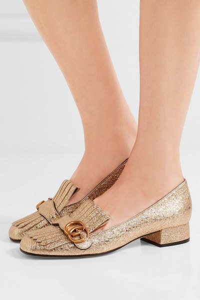 Gucci marmont fringed logo-embellished metallic cracked-leather loafers in gold - Gucci's fringed loafers are a cult favorite. This...
