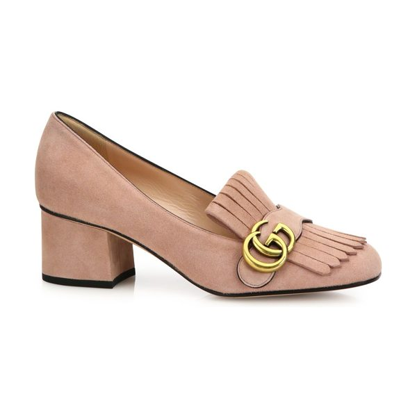 "Gucci marmont gg suede block heel pumps in blush - Self-covered heel, 2.2"" (55mm).Suede upper. Goldtone GG...."