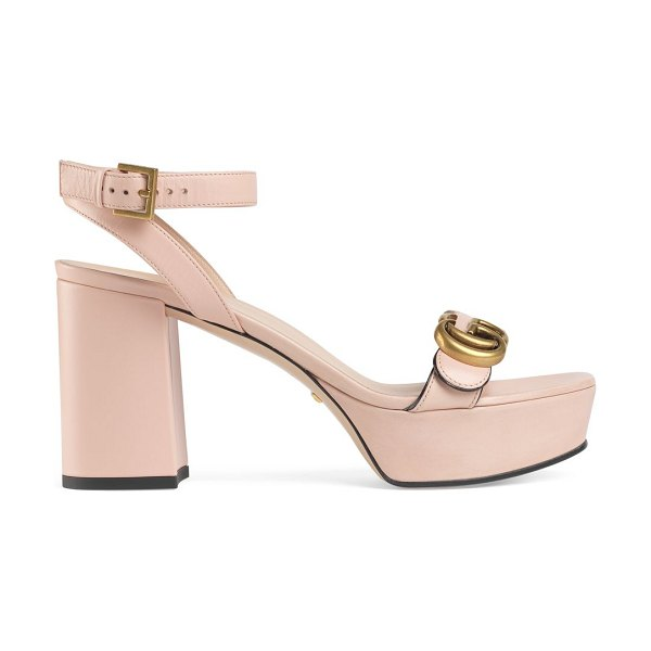 Gucci marmont leather platform sandals in perfect pink