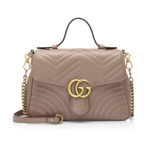 "Gucci gg marmont small top handle bag in roseporecelain - GG Marmont small top handle bag. Top handle, 3.25"" drop...."