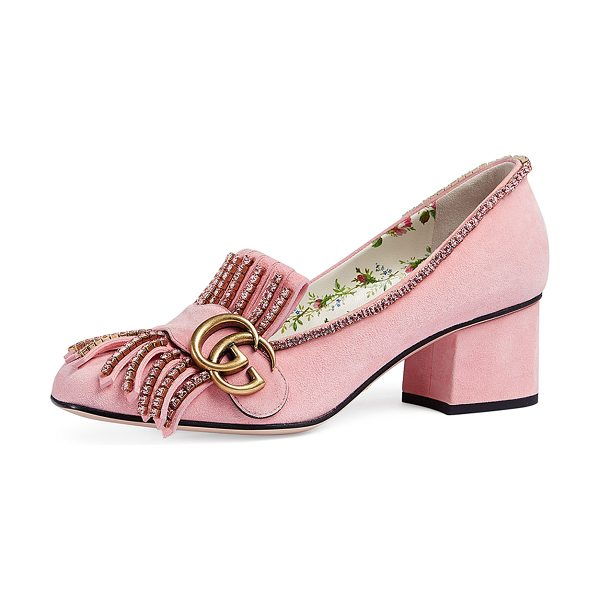 acdca7a8fc5 Gucci Marmont 55mm Kiltie Loafer in rose peonia - Gucci suede pump with  crystal embellishments.
