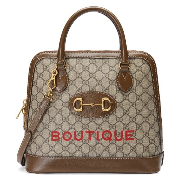 Gucci medium 1955 horsebit boutique gg supreme canvas top handle bag in beige