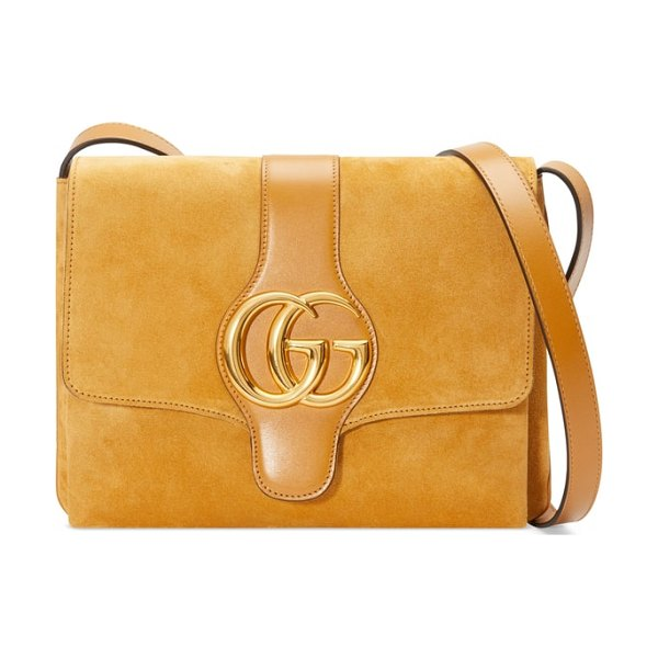 Gucci medium arli shoulder bag in brown - A shining double-G inspired by a '70s-era house design...