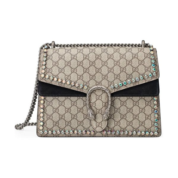 Gucci medium dionysus crystal embellished gg supreme canvas & suede shoulder bag in beige/ ebony/ black - Plush suede details and sparkling crystals spotlight...