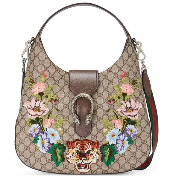 Gucci medium dionysus tiger gg supreme canvas hobo in beige ebony/multi - Embroidered flowers frame two of Gucci's signature tiger...