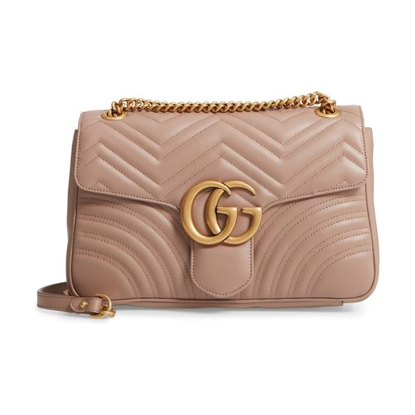 Gucci medium gg marmont 2.0 matelasse leather shoulder bag in porcelain rose - Double G logos inspired by a '70s-era design found in...