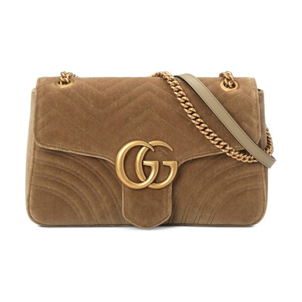 Gucci medium gg marmont 2.0 matelasse velvet shoulder bag in taupe/ taupe - Double-G hardware inspired by a '70s-era archival design...