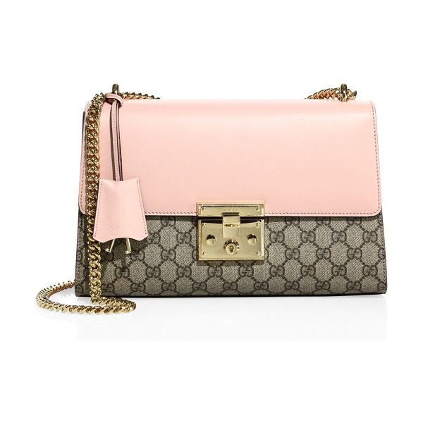 GUCCI medium padlock gg supreme leather shoulder bag - EXCLUSIVELY AT SAKS FIFTH AVENUE. Sliding chain strap,...