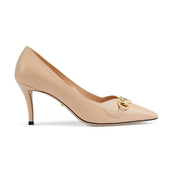 Gucci mid-heel leather pumps in skin rose