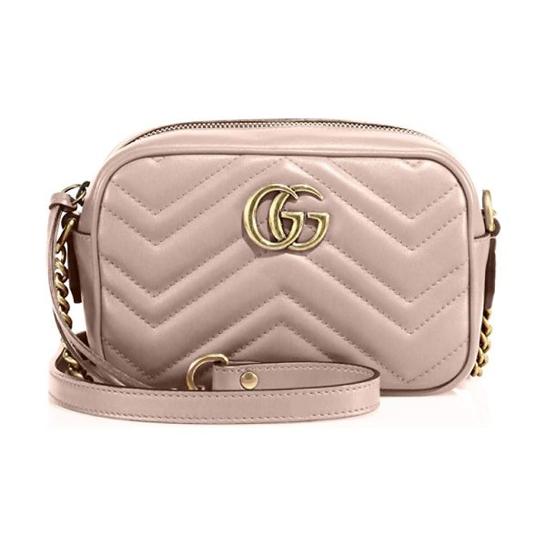 "Gucci gg marmont matelasse camera bag in perfectpink - Chain-and-leather shoulder strap, 23.5"" drop. Top zip..."