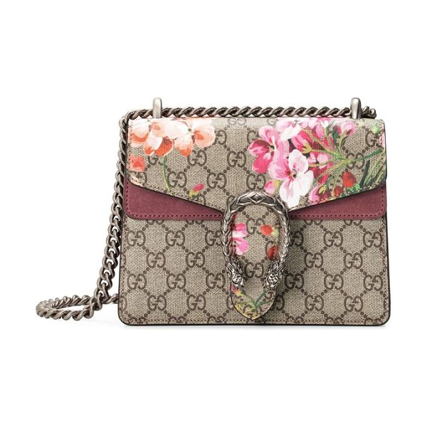 1964bbde94f Gucci mini dionysus gg blooms canvas   suede shoulder bag in beige ebony  multi  dry