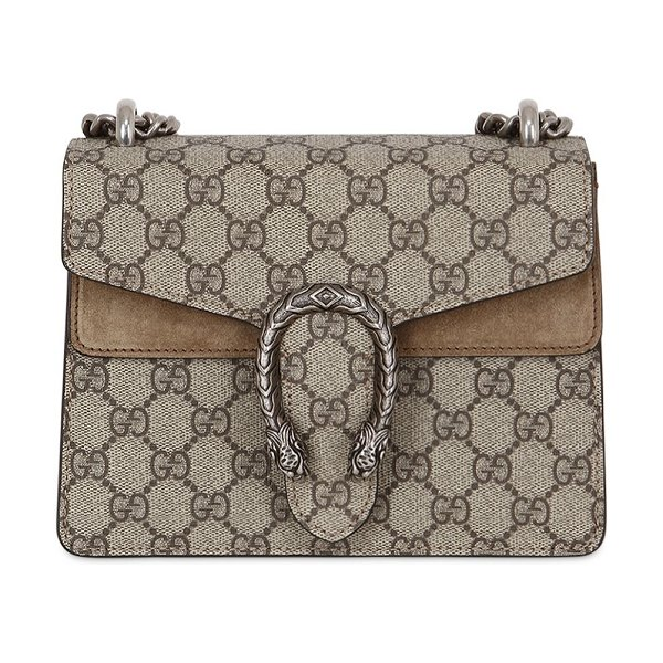 Gucci Mini dionysus gg supreme shoulder bag in taupe/beige - Height: 15.5cm Width: 20cm Depth: 5cm . Metal chain...
