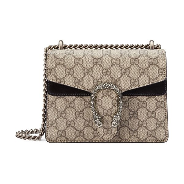 Gucci mini dionysus gg supreme shoulder bag in beige ebony/ nero - Plush suede details spotlight Gucci's distinctive...
