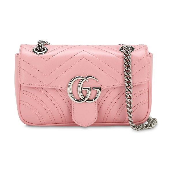 Gucci Mini gg marmont 2.0 leather shoulder bag in wild rose