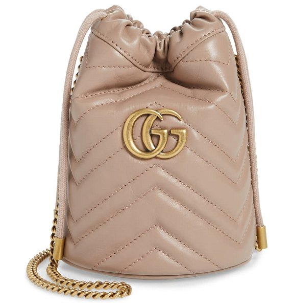 Gucci mini gg marmont 2.0 quilted leather bucket bag in beige