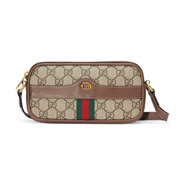 Gucci mini ophidia gg supreme canvas crossbody bag in beige
