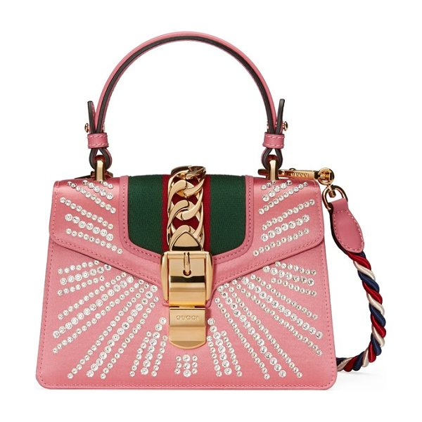 Gucci mini sylvie crystal burst top handle leather shoulder bag in pink - A standout since its debut, the Sylvie bag truly shines...