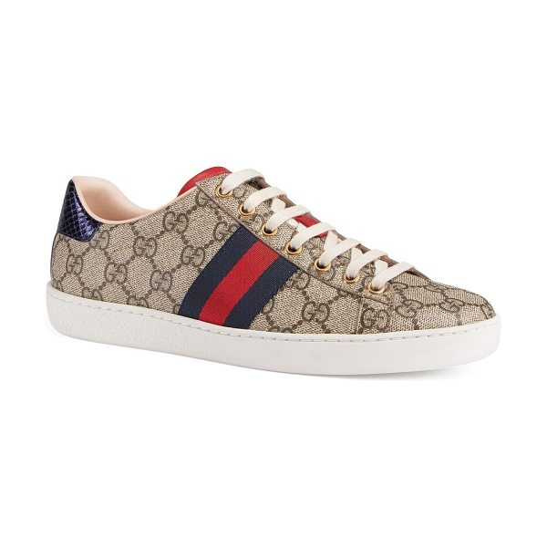Gucci new ace gg supreme sneakers in beige - Canvas sneakers with stripe detail on side panels....