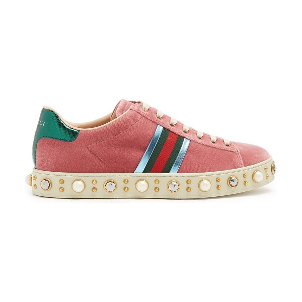 GUCCI New Ace faux-pearl embellished velvet trainers in pink - Alessandro Michele's creativity is expressed via...