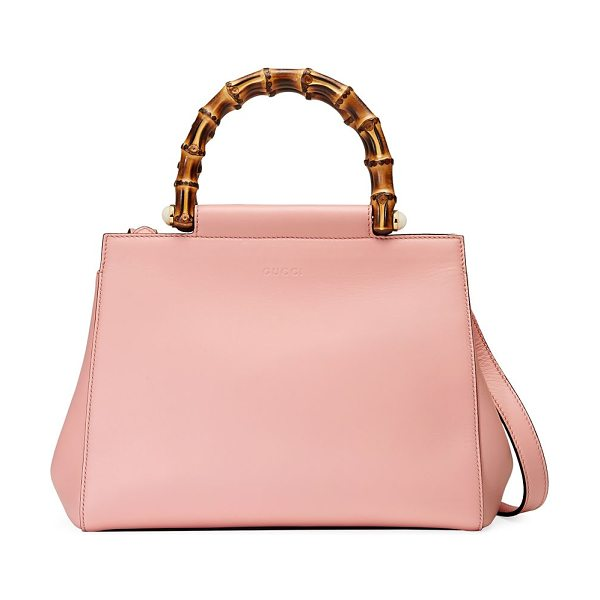 "Gucci nymphea leather top-handle bag in pink - Double bamboo top handles with pearly side studs, 3""..."