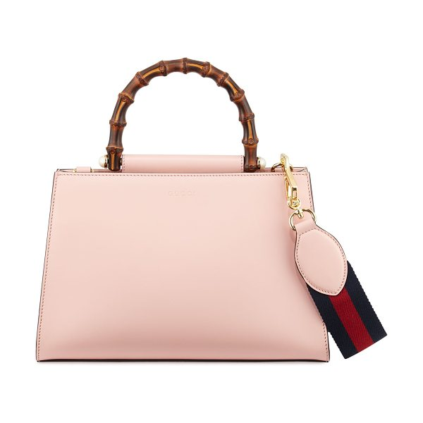 Gucci Nymphea Small Bamboo-Handle Tote Bag in soft pink/white - Gucci bicolor structured leather tote bag with golden...