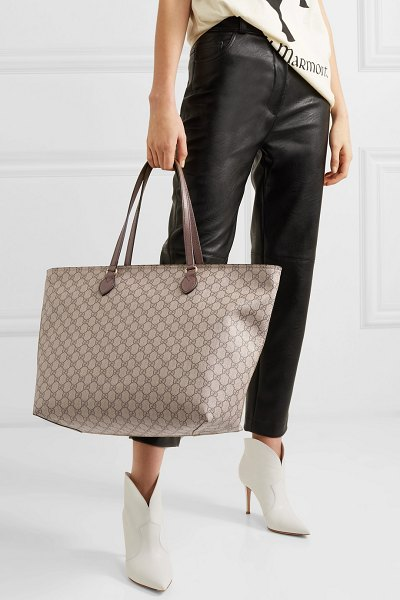 5e6dcdb49 Gucci ophidia east west leather-trimmed printed coated-canvas tote in brown