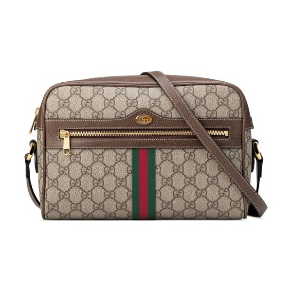 Gucci ophidia gg supreme canvas crossbody bag in beige - Signature Gucci web stripes and iconic double-G logos...