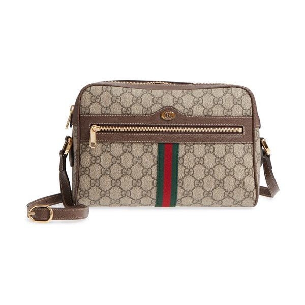 GUCCI ophidia gg supreme canvas crossbody bag in beige ebony/ acero/ vert red - Signature Gucci web stripes and iconic double-G logos...
