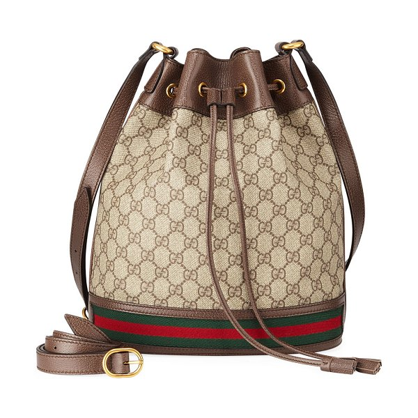 Gucci Ophidia GG Supreme Canvas Drawstring Bucket Bag in beige - Gucci  bucket bag in GG 42ea29bcdef66