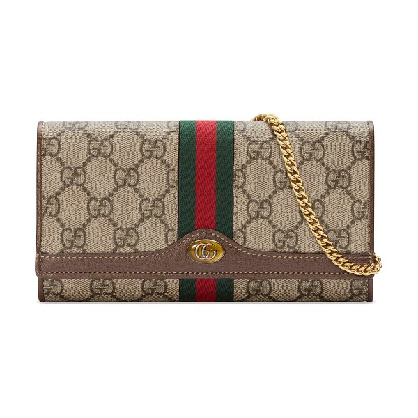 Gucci Ophidia GG Supreme Canvas Flap Wallet on Chain in beige
