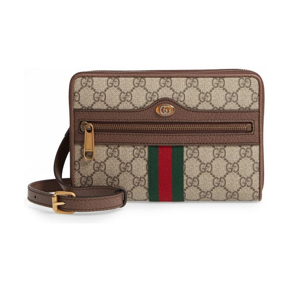 Gucci ophidia gg supreme canvas messenger bag in beige