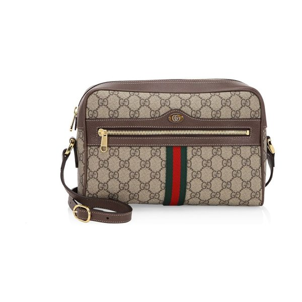 Gucci ophidia gg supreme shoulder bag in brown - Vintage details add style to distinguished camera bag...