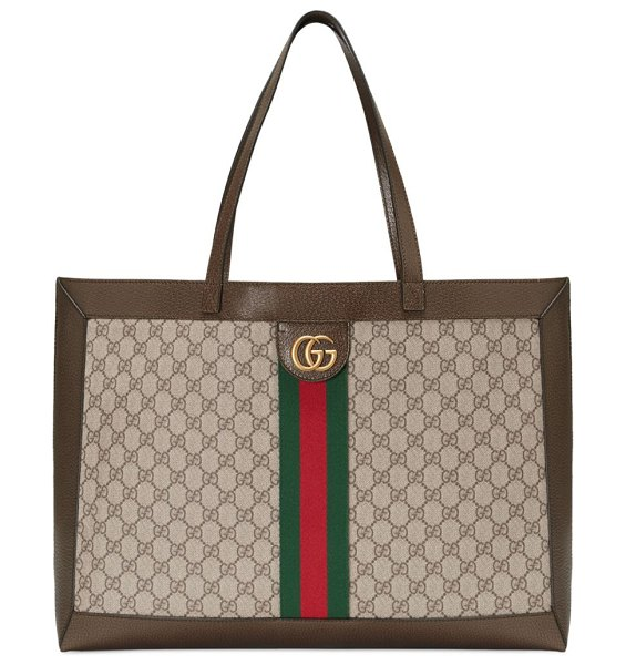 "Gucci ophidia large tote in beige chocolate - Double leather handles, 10"" drop. Detachable pouch with..."