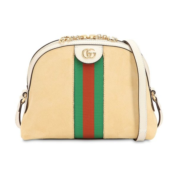 Gucci Ophidia suede shoulder bag in cream - Height: 19cm Width: 23.5cm Depth: 8cm . Shoulder strap...
